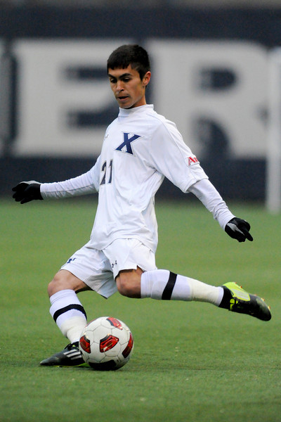 Xavier (21) Gino Depaoli during the game between the Xavier Musketeers and the Akron Zips Cincinnati, Ohio.  Xavier and Akron tied 1-1.