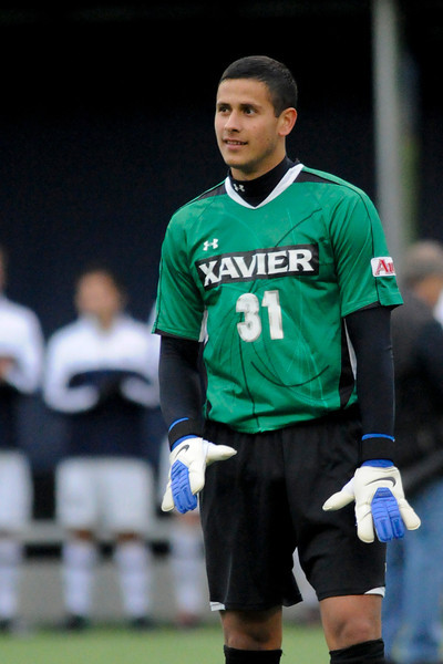 Xavier (31) Justin Marshall before the game between the Xavier Musketeers and Akron Zips Cincinnati, Ohio.  Xavier and Akron ended in a draw (1-1).
