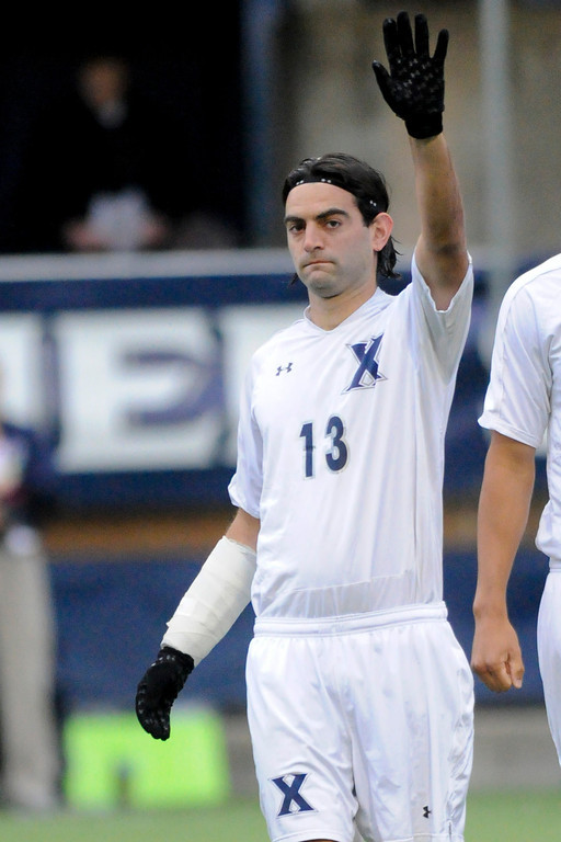 Xavier (13) Adar Cohen before the game between the Xavier Musketeers and Akron Zips Cincinnati, Ohio.  Xavier and Akron ended in a draw (1-1).