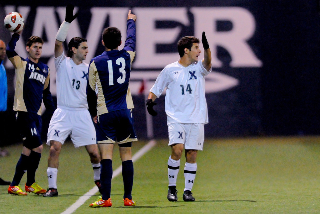Akron and Xavier player's show what direction the ball should go during the game between the Xavier Musketeers and Akron Zips Cincinnati, Ohio.  Xavier and Akron ended in a draw (1-1).