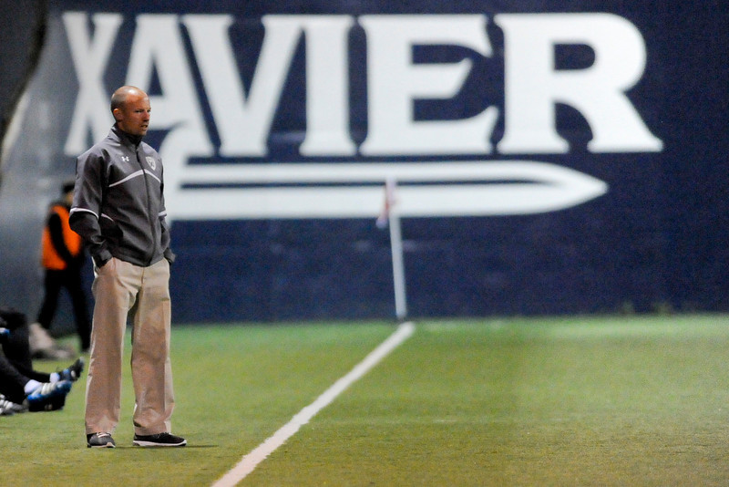 Xavier head coach Andy Fleming during the game between the Xavier Musketeers and Akron Zips Cincinnati, Ohio.  Xavier and Akron ended in a draw (1-1).