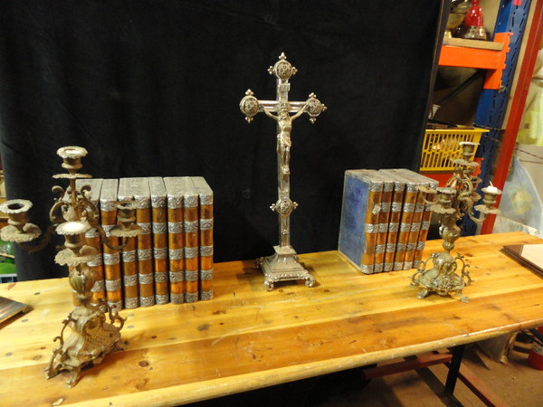 Books, candle sticks and cross to go behind Abbot's desk.