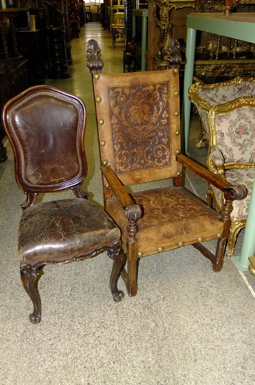 Abbots chair (on right) and 2 x visitors chairs (on left).