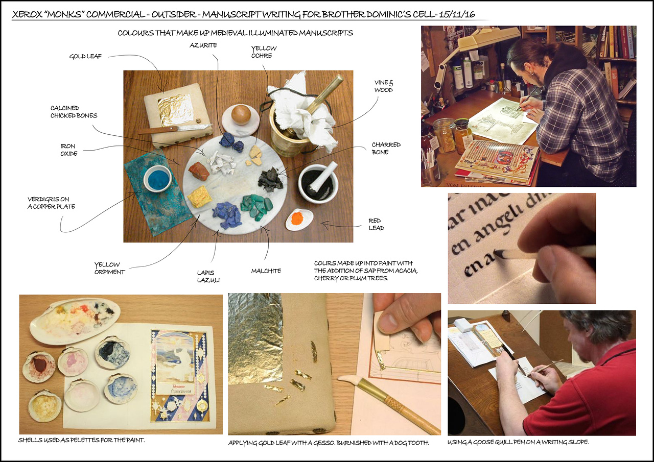 Research in manuscript writing. Note that gold leaf will no longer feature in the manuscript, we will use gold paint instead.