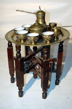 Tea set option and small folding table.