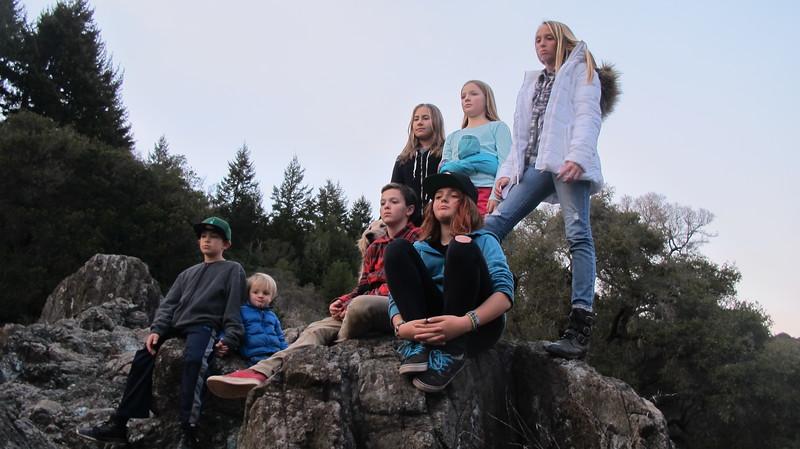 Kids on rocks