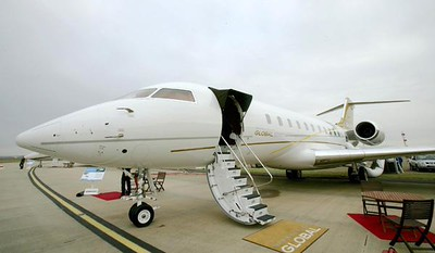 The Bombardier Global 5000 private jet.