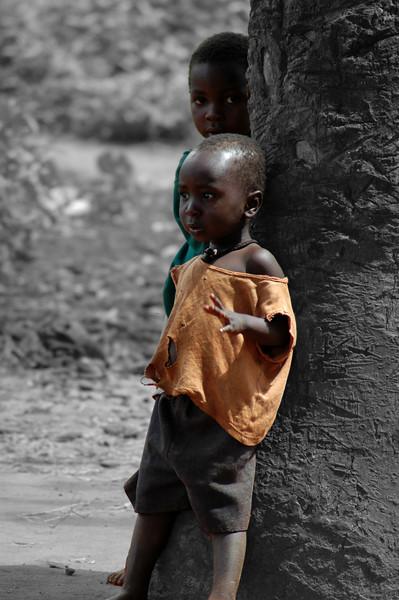 Location:  Arusha, Tanzania Black and white background.