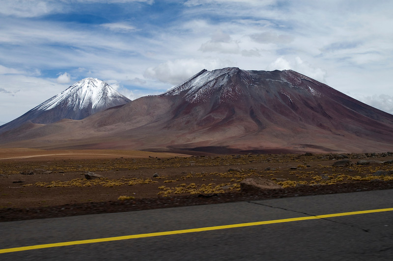 Atacama Twin Volcanoes - Lazcar (5590m) and Licancabur (5920m). The Atacama Desert
