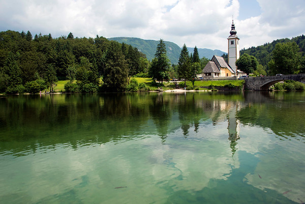 Church of Saint John the Baptist in Bohinj lake Slovenia