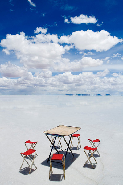 We drove out into the salt flats for about a mile before stopping for some photos and a brief picnic lunch of chewy lama steaks, rice salad and watermelon.  It was perfectly flat for hundreds of miles and I could see the earth bend as it made its way to the horizon.  It was more beautiful than I could have ever imagined and like nothing else I had ever seen.<br /> <br /> Before we arrived in Bolivia I made a point of not looking at any pictures of the salt flats in the hope that it would be a pleasant surprise. In fact I didn't really know what to expect at all. It was like going to a movie that you knew nothing about and having it turn out to be your favorite film of all time. A terrible analogy I know but you get the idea.