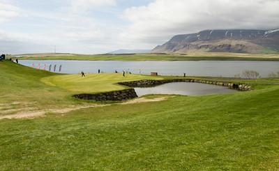 Átjánda flötin, hin fallega lokahola Hlíðavallar. Með nýjum golfskála mun þessi golfhola væntanlega tilheyra fyrri helmingi vallarins.