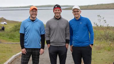 Síðasti ráshópur dagsins fóru af stað 11:48. Óttar Helgi EInarsson, Jón Bergþórsson og Kjartan Tómas Guðjónsson.