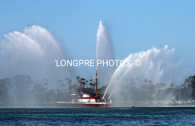 LONG BEACH FIRE BOAT spraying a Celebratory Farewell to all race yachts.