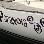PARANOIA  graphic on side of boat.  A Santa Cruz 52.