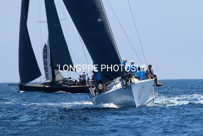 dark boat= VARUNA...Rogers 46 ..... white boat bow on  CAZAN.