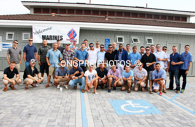 30 US MARINES visiting Balboa Yacht Club.  Supporter LYNN SELICH with the boys.