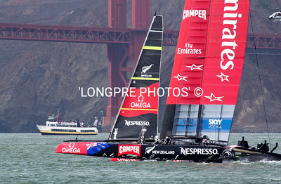 Emirates Team NZ back up to weather mark just south the Golden Gate bridge.