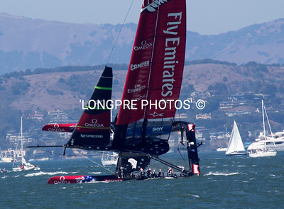 Team NZ nearly capsizing during windward leg of Race 8, Sept. 14th.
