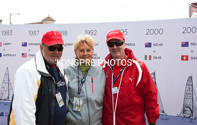 America's Cup volunteer (right) from Australia posing with friends.
