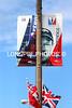 Street light pole banners along Front Street, Hamilton, Bermuda.