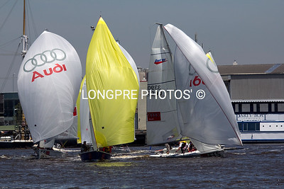 SB3's racing at DOCKLANDS, Melbourne. Winning the series:  NATHAN OTTERIDGE and TOM SLINGSBY. ISAF sailor of the year.