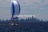 MELBOURNE city in background. Racing on Port Phillip Bay.