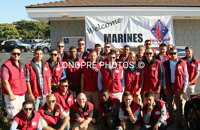 US MARINE'S from Camp Pendelton, CA.  At Balboa Yacht Club Thurs. evening 8-28-14. Going racing on several sail boats in the BEER CAN Races.