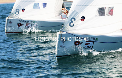 Bows of race boats.  US Sailing event:  ROSE CUP
