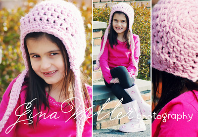 Bubblegum pink chunky earflap cap with ties.  ♥ Love my model. ♥ She lost her 2nd top tooth about an hour before we took these photos.