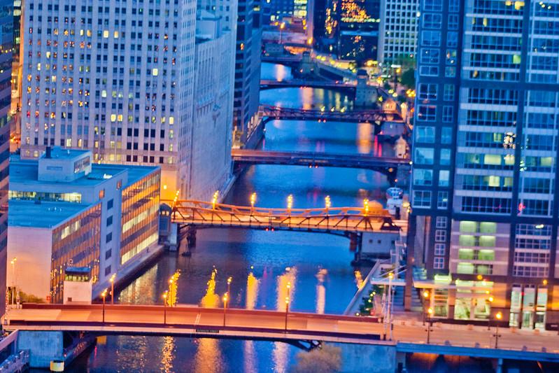 Bridges at Night in Chicago