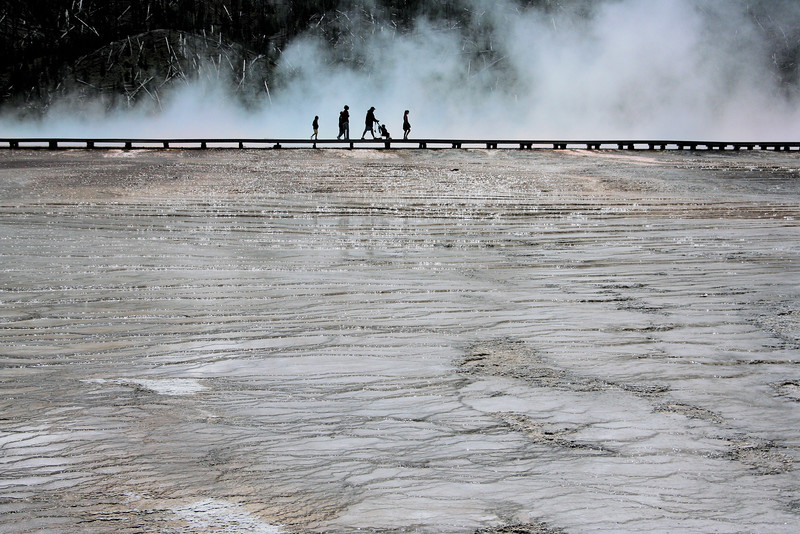 A family at Midway Geyser Field