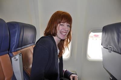 Kansas' Melinda Becker boards her flight to Orlando.