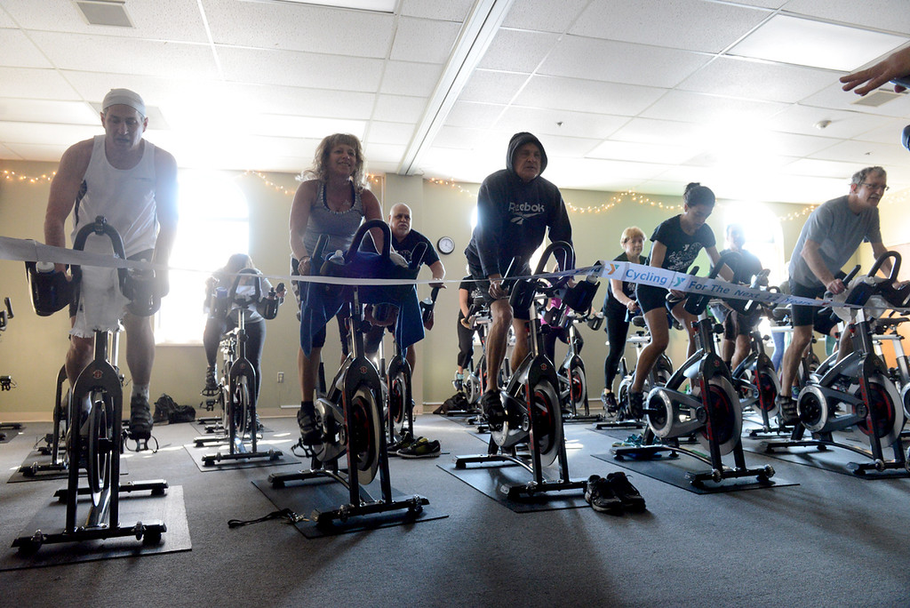 . Tania Barricklo-Daily Freeman  Members of the Kingston YMCA\'s  cycle, or commonly known as spin, class enjoy the 30 new cycle bikes that were donated to the center. A grand opening was held Thursday morning at 5:20 am, the first class. The class pictured above was the 12:15 class.Donations, in addition to multiople individuals , were from Rondout Savings and Catskill Hudson Bank.