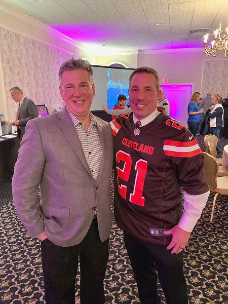 From left, Jeanne D'Arc Credit Union President and CEO Mark Cochran of Dunstable with YMCA President and CEO Kevin Morrissey of Chelmsford