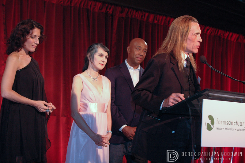 Sharon Gannon, David Life, and Russel Simmons at the 2008 Farm Sanctuary Gala in NYC