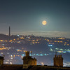 February 2018, Supermoon over rooftops of Sowerby Bridge, HAlifax, West Yorkshire with Wainhowse tower in background.