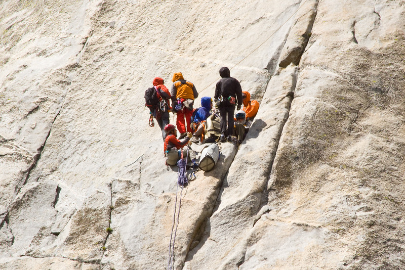 A group of climbers ascending El Capitan