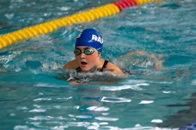 JOSH KAUFMANN, St. Albans Messenger Alice Hammond of the Waterbury Rapids swim team swims the breaststroke leg in her 11-12-year-old 100-yard individual medley race at Saturday's Vermont Swim Association state championships in White River Junction.