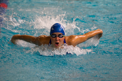 JOSH KAUFMANN, St. Albans Messenger A member of Manchester's Triton Swim Team races in the 13-14-year-old 100-yard butterfly at Saturday's Vermont Swim Association state championships in White River Junction. Note: Probably Paige Marion but could be Mikayla Lathrop