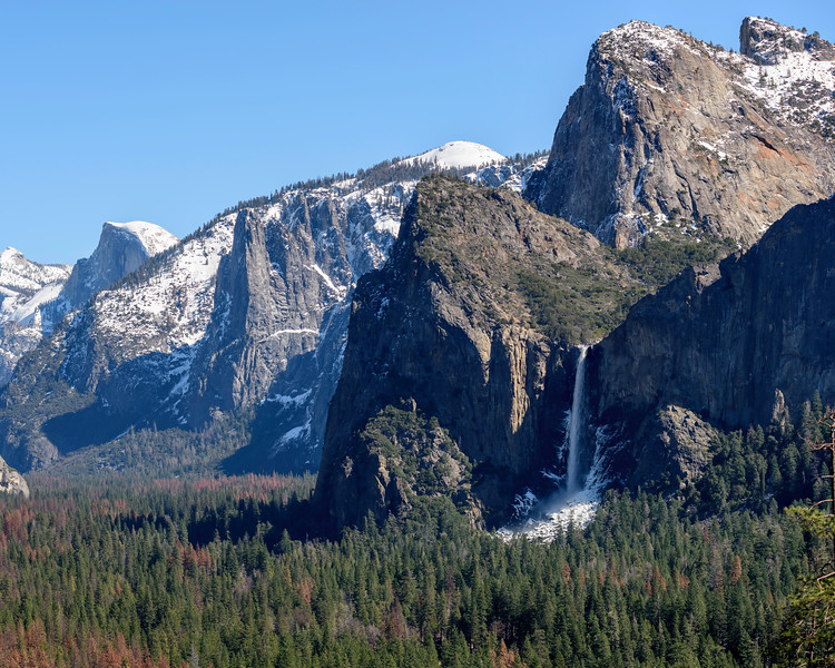 Half Dome and Bridalveil Fall  shot with 80-200mmf/4 from Tunnel View