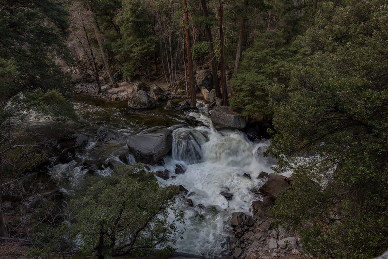 The trail follows the water flow from the Vernal and Nevada Fall