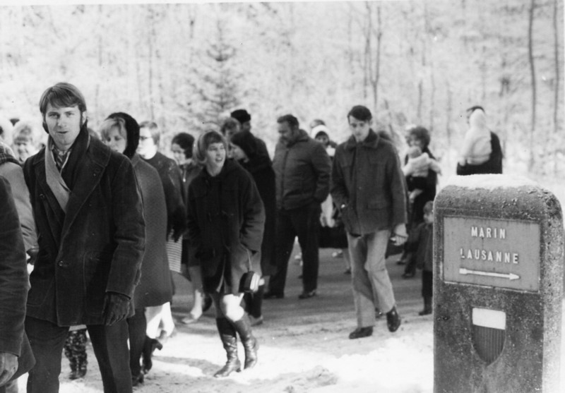 1971, Jan Prayer march Chalet a Gobet, Switzerland-claiming triangle property. Dennis Lindsey at far left.