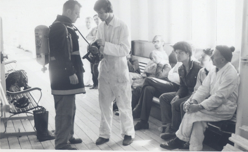"""""""Maori"""", ship we lost in 1973-The late Bill Mansfield left-in fire suit."""