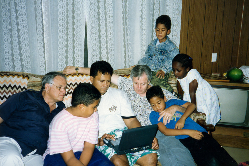 Loren with Jason and Sosene Le'au. Paul Hawkins holds Joshua Le'au, Justin Le'au and Kouassi girl on right.