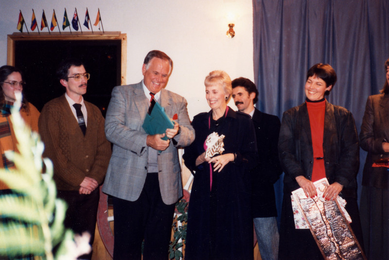 Loren and Darlene receive a gift at 1991 LTS in Chile