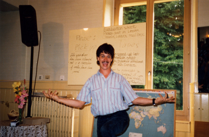 Brett Curtis cuts up at the 1988 DTS Leaders Workshop in Lausanne.