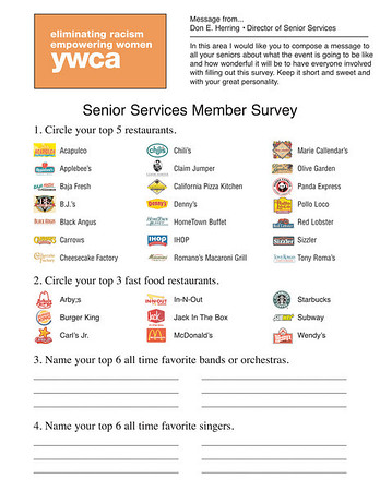 YWCA • SENIOR SERVICES MEMBER SURVEY
