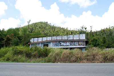 Graffiti on an abandoned structure in Yabucoa 6 months after hurricane Maria