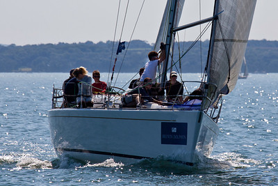 Sailing at the Brewin Dolphin Commodores Cup regatta in Cowes on the Isle of Wight, UK in July 2012 . Cathy Vercoe LuvMyBoat.com